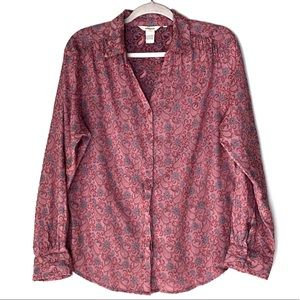 SUNDANCE. Pink & Blue Paisley Print Button Up